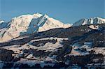 Megeve ski slopes, Mont-Blanc mountain range, Megeve, Haute-Savoie, French Alps, France, Europe