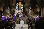 Paris archbishop Andre Vingt-Trois saying Mass at Notre Dame Cathedral, Eucharist celebration, Paris, France, Europe