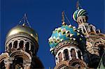 Dômes, église du Sauveur sur le sang versé (église de la Résurrection), patrimoine mondial de l'UNESCO, Saint-Pétersbourg, Russie, Europe