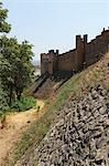 Fortified castle walls around the Convent of Christ (Convento de Cristo), UNESCO World Heritage Site, Tomar, Ribatejo, Portugal, Europe