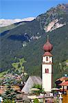 View over church, Canazei, Val di Fassa, Trentino-Alto Adige, Italy, Europe