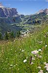View from Col Alto and cable car, Corvara, Badia Valley, Bolzano Province, Trentino-Alto Adige/South Tyrol, Italian Dolomites, Italy, Europe