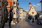 Street sculpture and Little Church, Ortisei, Gardena Valley, Bolzano Province, Trentino-Alto Adige/South Tyrol, Italian Dolomites, Italy, Europe