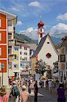 Street scene and Little Church, Ortisei, Gardena Valley, Bolzano Province, Trentino-Alto Adige/South Tyrol, Italian Dolomites, Italy, Europe