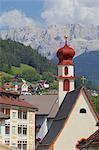Houses and Little Church, Ortisei, Gardena Valley, Bolzano Province, Trentino-Alto Adige/South Tyrol, Italian Dolomites, Italy, Europe