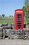 Red telephone box, Monyash, Peak District, Derbyshire, England, United Kingdom, Europe