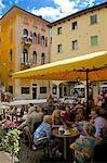 Cafe and local people, Piazza Mercato, Belluno, Province of Belluno, Veneto, Italy, Europe