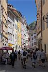 Busy street, Bolzano, Bolzano Province,Trentino-Algo Adige, Italy, Europe