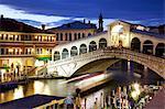 Rialto Bridge at dusk, Venice, UNESCO World Heritage Site, Veneto, Italy, Europe
