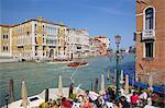 Café près du canal et Grand Canal, Dorsoduro, Venise, UNESCO World Heritage Site, Veneto, Italie, Europe