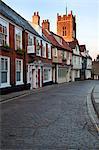 St. Georges Tombland et Princes Street au crépuscule, Norwich, Norfolk, Angleterre, Royaume-Uni, Europe