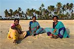 Local women on beach, Benaulim, Goa, India, Asia