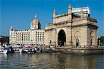 Waterfront with Taj Mahal Palace and Tower Hotel and Gateway of India, Mumbai (Bombay), Maharashtra, India, Asia