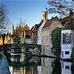 Canal view with Belfry in winter, Bruges, West Vlaanderen (Flanders), Belgium, Europe