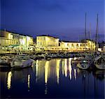 The harbour with restaurants at dusk, St. Martin, Ile de Re, Poitou-Charentes, France, Europe