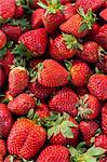 Strawberries for sale at the Sunday morning market, Pollenca, Tramuntana, Mallorca, Balearic Islands, Spain, Europe