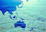 World map and grassland image