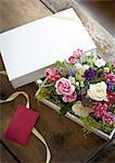 Flower arrangement in a gift box