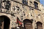 carved stone facade of Palazzo Pretorio, Arezzo, Province of Arezzo, Tuscany, Italy