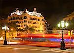 Casa Mila by night, designed by Antoni Gaudi in Barcelona, Spain