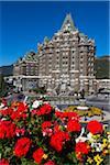 Fairmont Banff Springs Hotel and Flower Beds, Banff, Banff National Park, Alberta, Canada