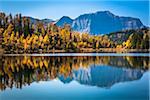 Larix Lake with Autumn Larch, Rock Isle Trail, Sunshine Meadows, Mount Assiniboine Provincial Park, British Columbia, Canada