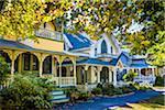 Row of Cottages in Wesleyan Grove, Camp Meeting Association Historical Area, Oak Bluffs, Martha's Vineyard, Massachusetts, USA