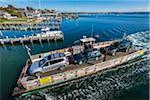 Aerial View of Car Ferry Approaching Dock, Edgartown, Dukes County, Martha's Vineyard, Massachusetts, USA