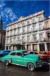 Classic Cars in front of Hotel Inglaterra, Old Havana, Havana, Cuba