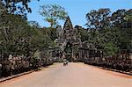 Trishaw on the road to Angkor Wat, Cambodia