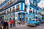 Blue Building, Classic Car, and Busy Street Scene, Havana, Cuba