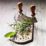 A bunch of herbs and a mezzaluna