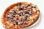 A tuna, olive and onion pizza