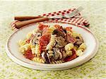 Fusilli with salami and mushrooms