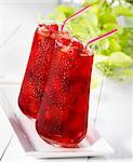 Two raspberry drinks