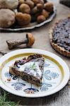 A slice of mushroom tart