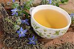 Borage tea and borage flowers