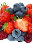 Heap of fresh summer fruits in close-up.