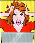 Woman yelling at computer, pulling hair