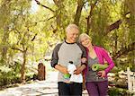 Older couple walking together outdoors