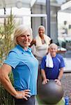 Older friends exercising together