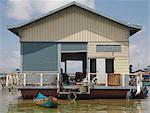 A floating house, Tonle Sap Lake, Cambodia, Indochina, Southeast Asia, Asia