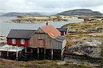 Fishing cabin on the island of Villa near Rorvik, west Norway, Norway, Scandinavia, Europe