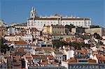 The Alfama district with the Sao Vicente de Fora Monastery, Lisbon, Portugal, Europe