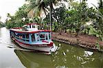 Ferry boat travelling on the Kerala Backwaters, Kerala, India, Asia