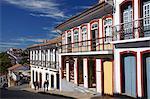 People walking along street, Ouro Preto, UNESCO World Heritage Site, Minas Gerais, Brazil, South America