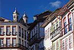 Colonial architecture in Largo do Rosario (Rosario Square), Ouro Preto, UNESCO World Heritage Site, Minas Gerais, Brazil, South America