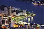 Botafogo Bay and beach at dusk, Rio de Janeiro, Brazil, South America