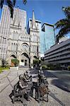 Statues outside the Presbyterian Cathedral, Centro, Rio de Janeiro, Brazil, South America