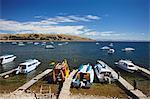 Boats moored in bay, Copacabana, Lake Titicaca, Bolivia, South America